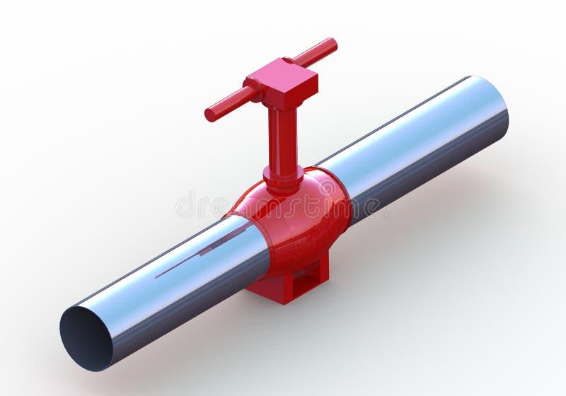 气油管道红色钢阀门 向量例证