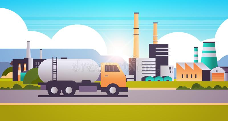 气油罐车管烟囱自然污染污染污水工厂化建设工业区 向量例证