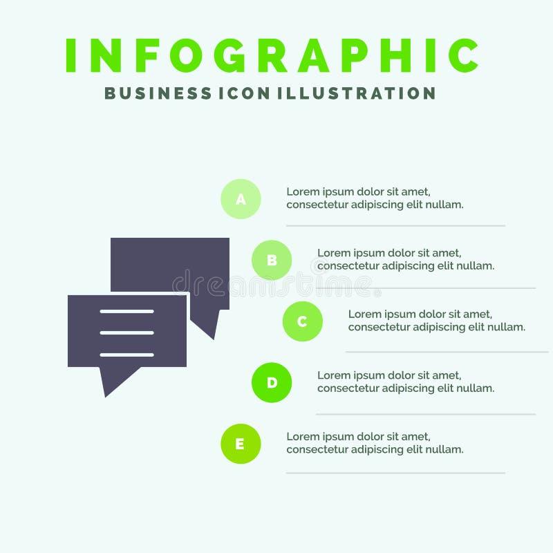 气泡、聊天、客户、讨论、组实体图标信息图形5步骤演示背景 向量例证