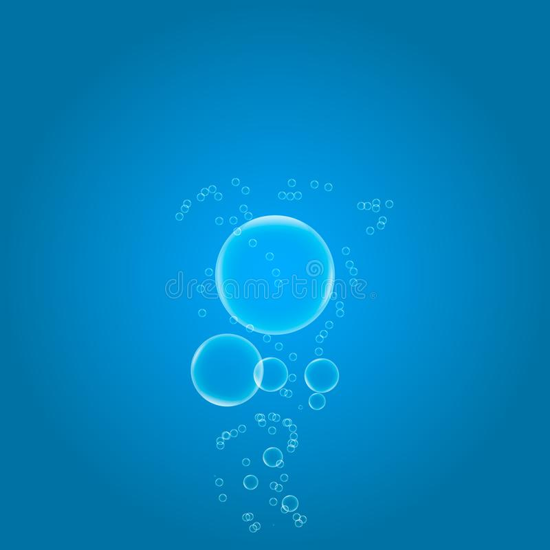 气泡在梯度背景的大海设计 皇族释放例证