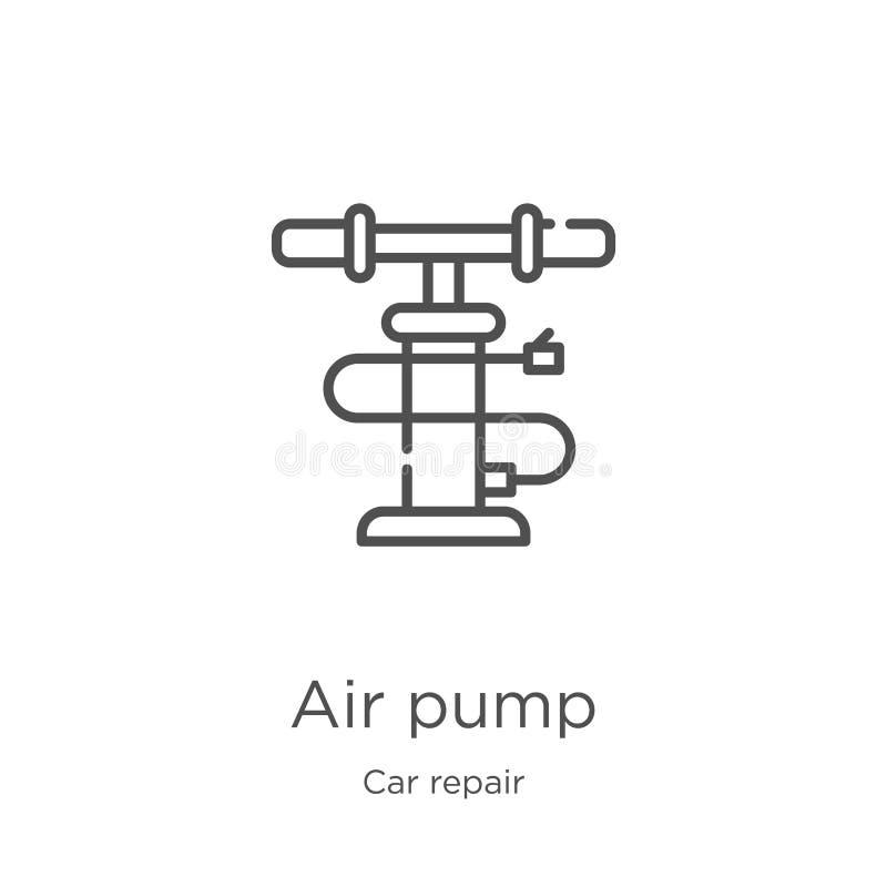 气泵从汽车修理汇集的象传染媒介 r 概述,稀薄的线气泵 向量例证