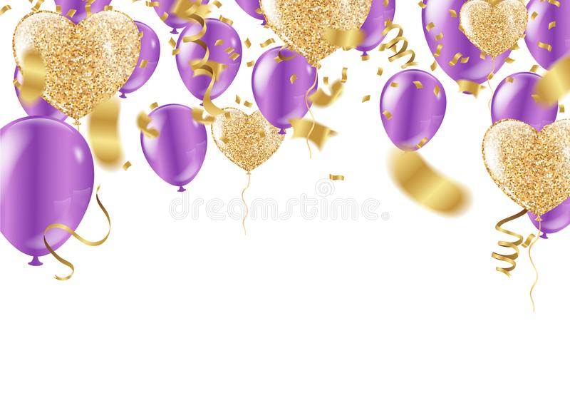 气球五彩纸屑气球,飘带紫色五颜六色的狂欢节或党框架  向量例证