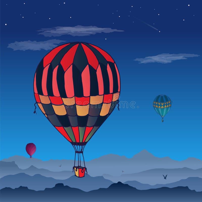 气球卡片 飞行在被覆盖的夜空的一些不同地色的镶边气球 云彩和鸟的样式 皇族释放例证