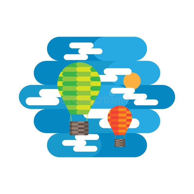 气球和云彩在天空 库存例证