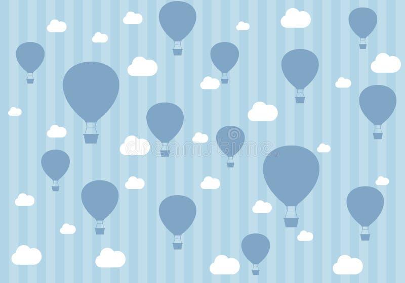 气球和云彩的旅行样式 男孩的墙纸 库存图片