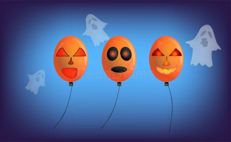 气球和鬼魂与可怕面孔和装饰在各种各样 库存例证