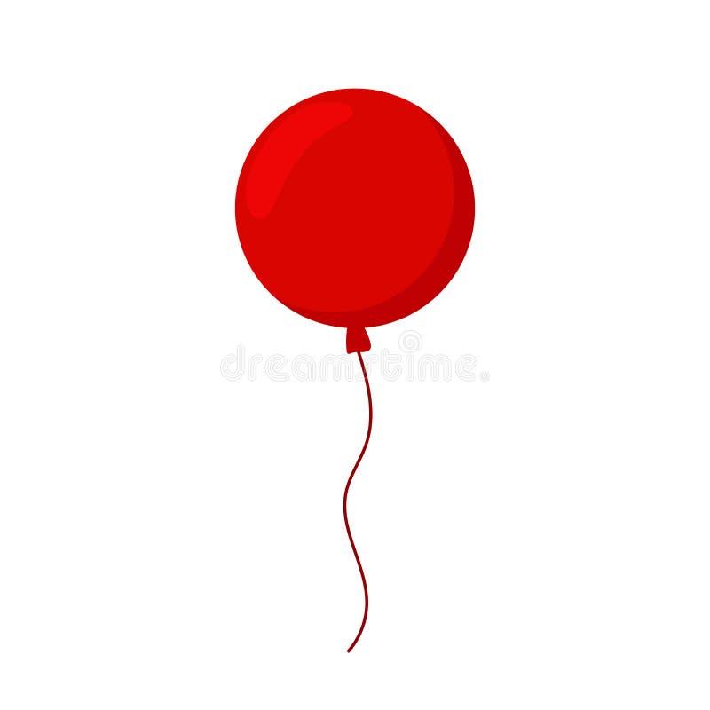 气球在白色背景的被隔绝的象 有长的丝带的大圆的红色气球 皇族释放例证
