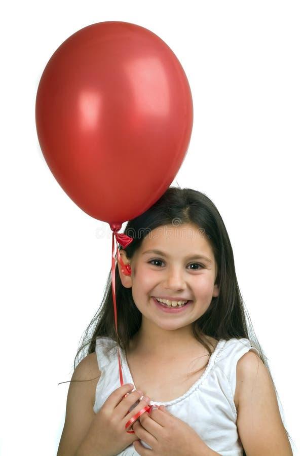 气球女孩红色 免版税图库摄影