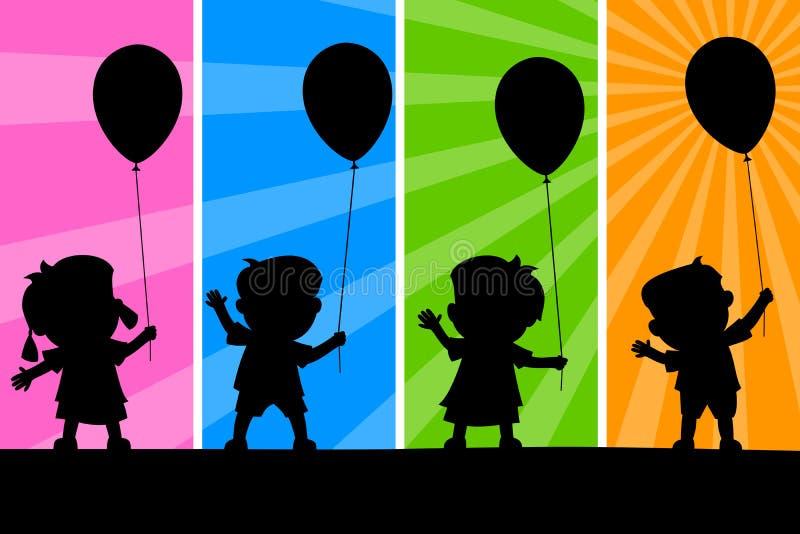 气球孩子剪影 皇族释放例证