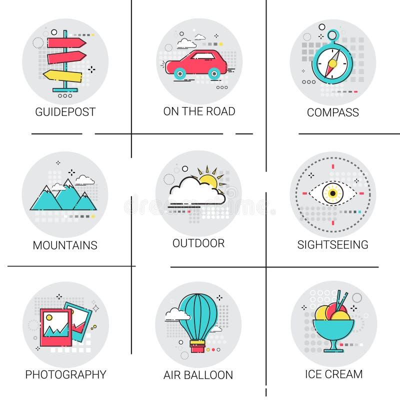 气球山汽车旅行旅行旅游业象集合假日假期 向量例证