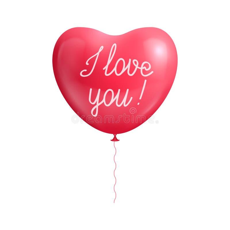 气球心脏形状声明爱 皇族释放例证