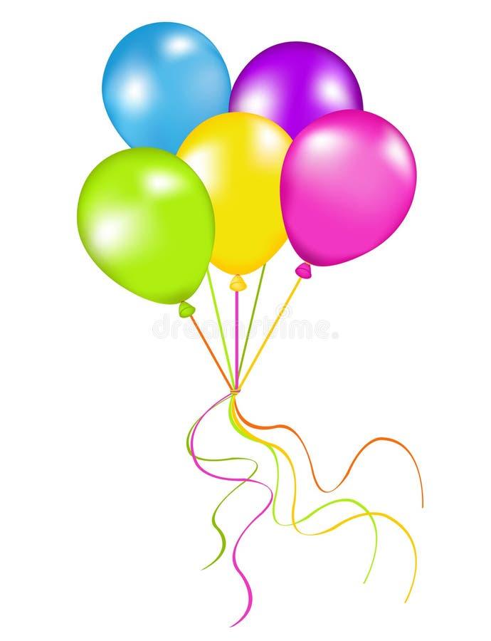 气球束起五颜六色的向量 皇族释放例证