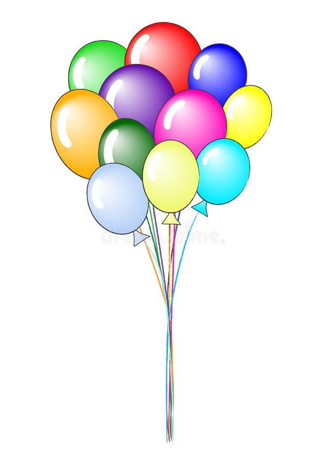 气球束起五颜六色 向量例证