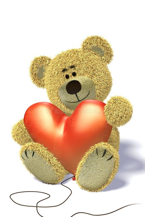 气球熊心形的nhi开会 皇族释放例证