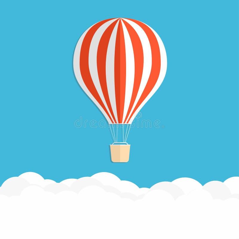 气球燃烧器射击了热丙烷 在云彩上的红色镶边气球 皇族释放例证
