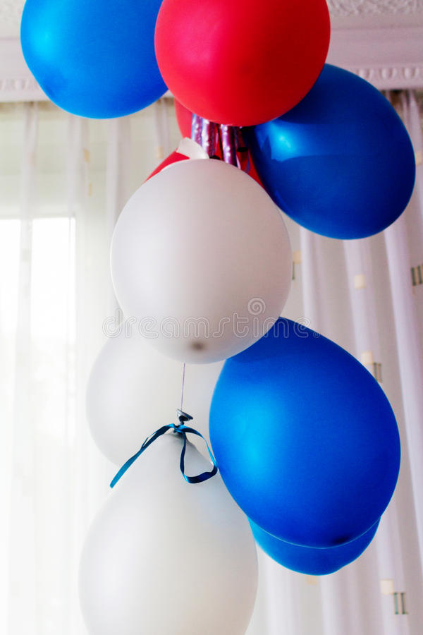 气球生日蓝色 库存图片