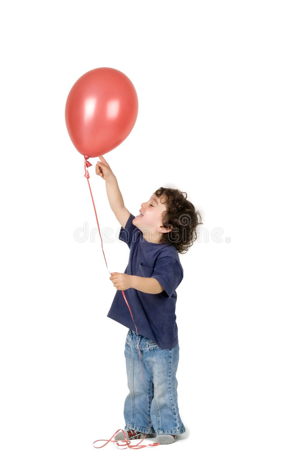 气球男孩红色的一点 库存图片