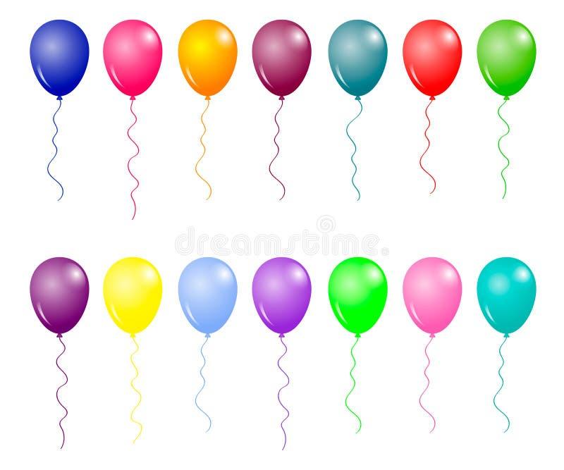 气球组 矢量插图彩色光面球标 向量例证