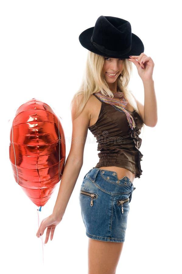 气球美丽的方式当事人红色妇女 库存图片