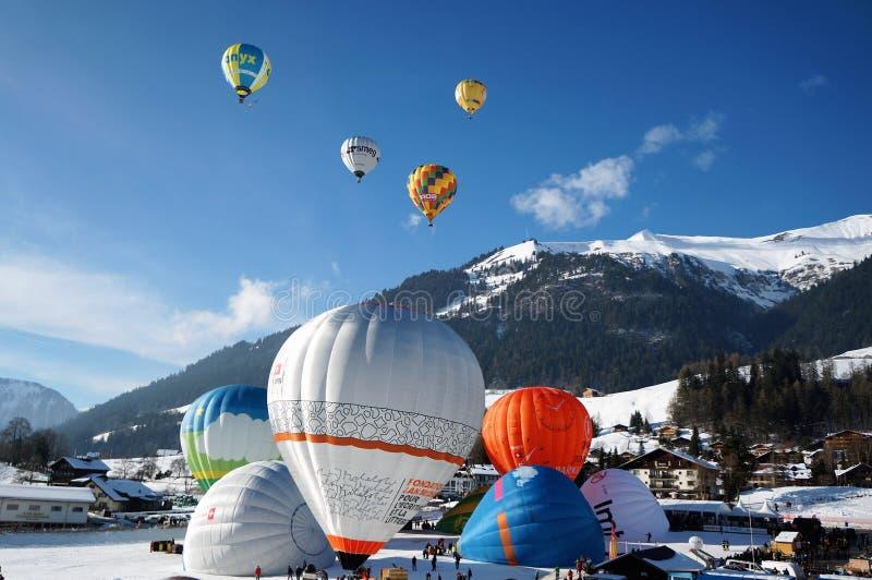 气球节日,Château-d'Oex 免版税库存照片