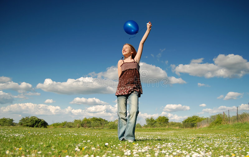 气球蓝色女孩 图库摄影