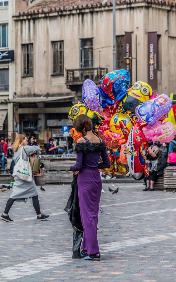 气球街边小贩 免版税库存图片