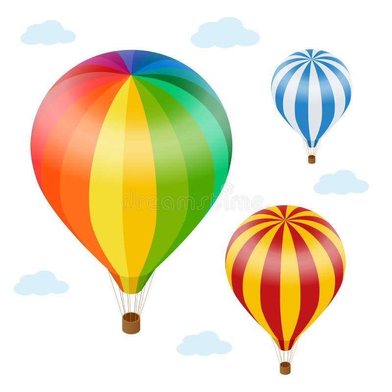 气球覆盖热天空 平的3d传染媒介等量例证热空气迅速增加 皇族释放例证