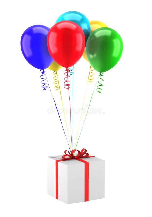 气球配件箱礼品查出的多彩多姿的wh 库存例证