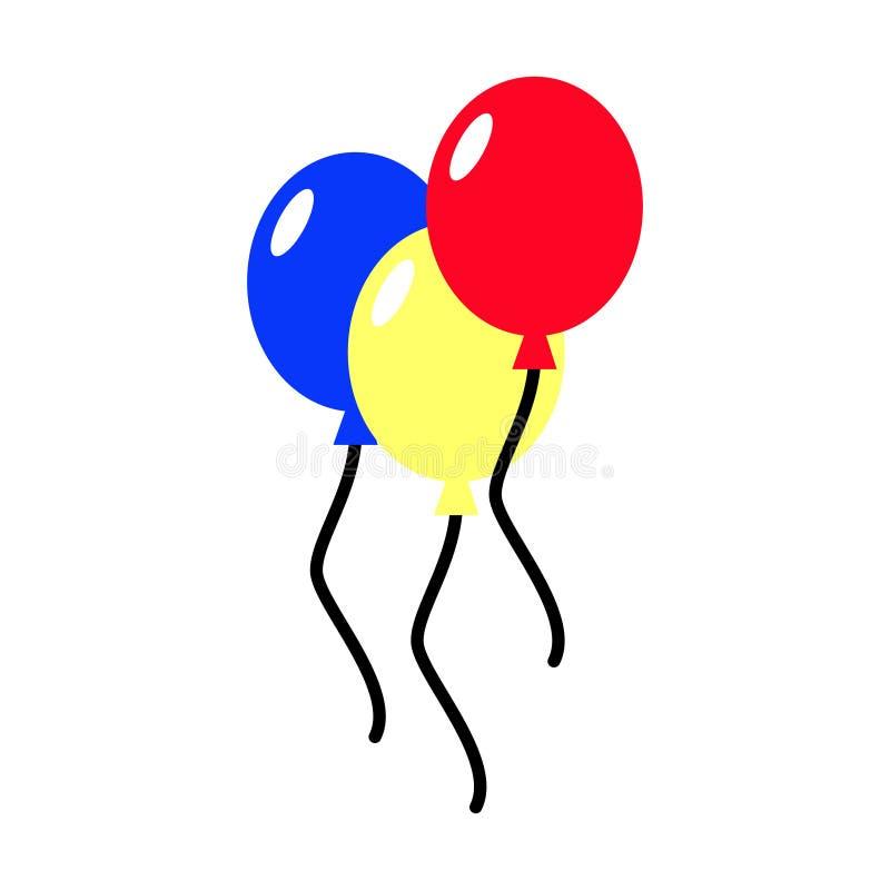 气球隔绝了在白色背景的象 三五颜六色的ballo 向量例证