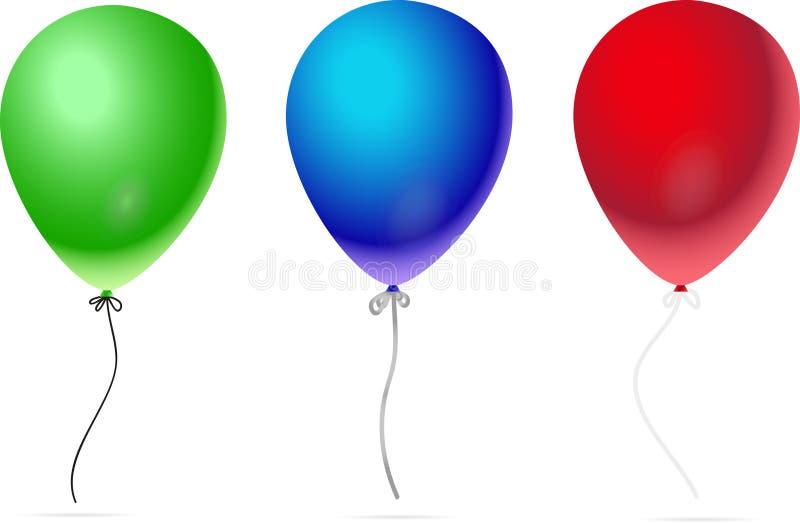 气球隔绝了在白色背景的象 迅速增加五颜六色三 也corel凹道例证向量 库存例证