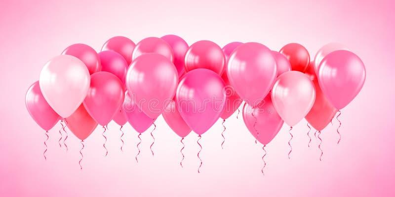气球集会粉红色 库存例证
