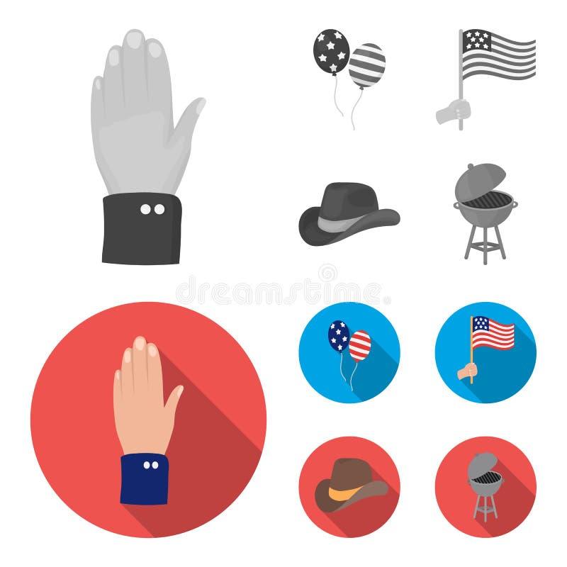 气球,国旗,牛仔帽,棕榈手 在单色,平的样式传染媒介标志的爱国者天集合汇集象 向量例证