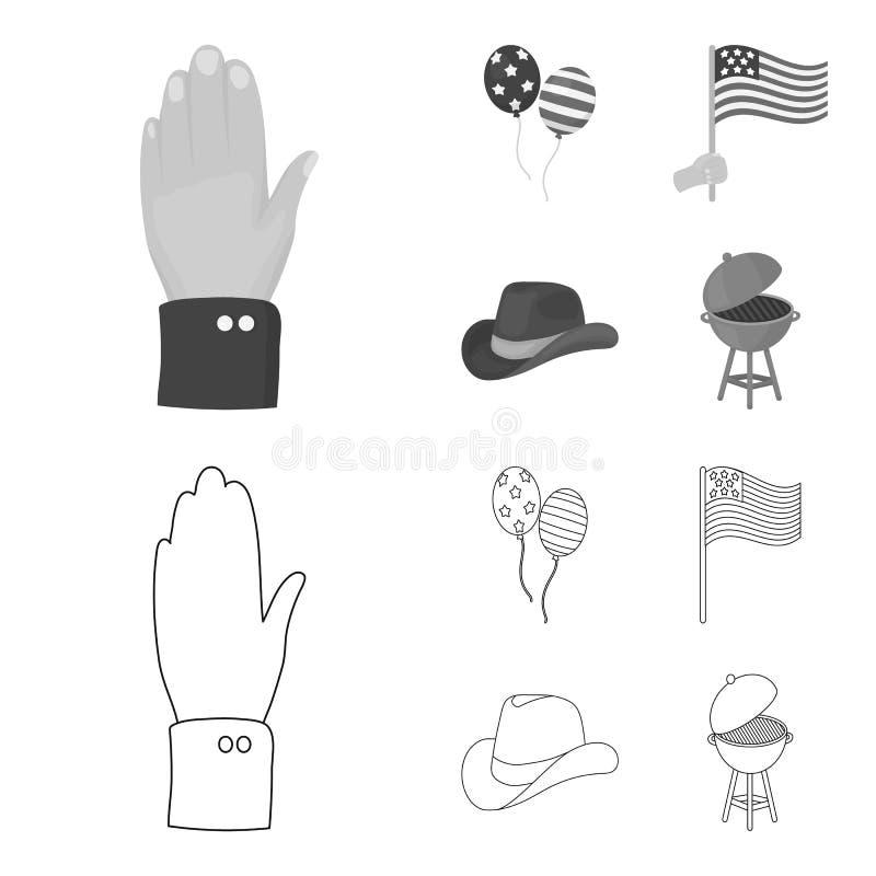 气球,国旗,牛仔帽,棕榈手 在概述,单色样式传染媒介的爱国者天集合汇集象 皇族释放例证