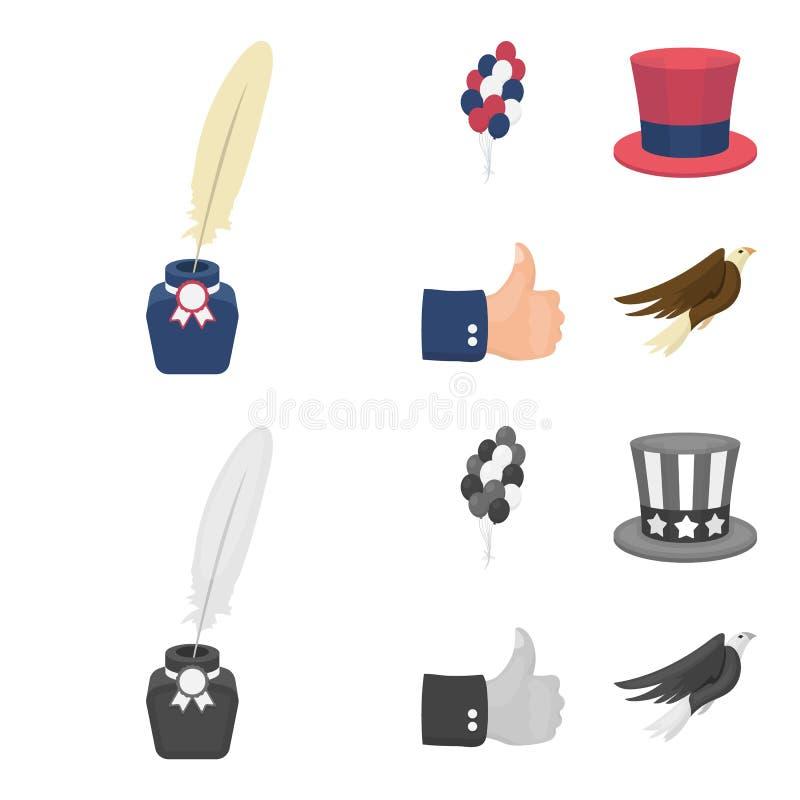 气球,有笔的墨水池,山姆大叔帽子 在动画片,单色样式传染媒介的爱国者天集合汇集象 皇族释放例证