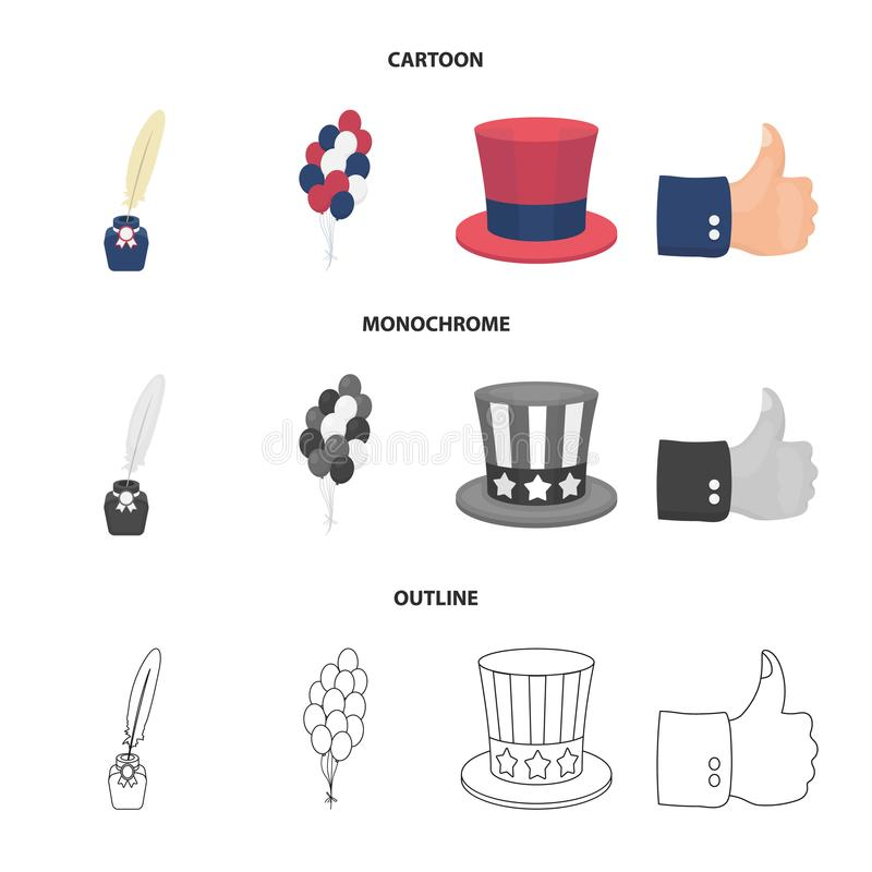 气球,有笔的墨水池,山姆大叔帽子 在动画片,概述,单色样式的爱国者天集合汇集象 库存例证