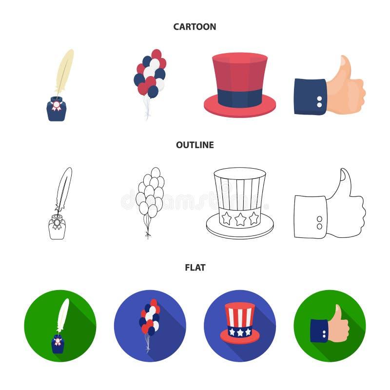 气球,有笔的墨水池,山姆大叔帽子 在动画片,概述,平的样式传染媒介的爱国者天集合汇集象 向量例证