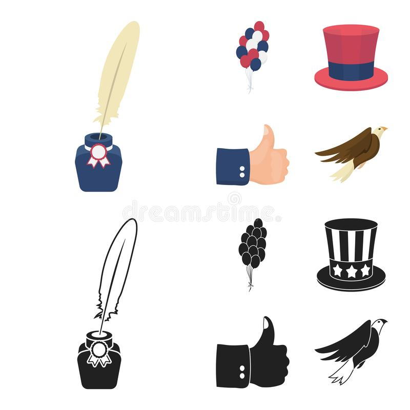 气球,有笔的墨水池,山姆大叔帽子 在动画片,黑样式传染媒介标志的爱国者天集合汇集象 向量例证
