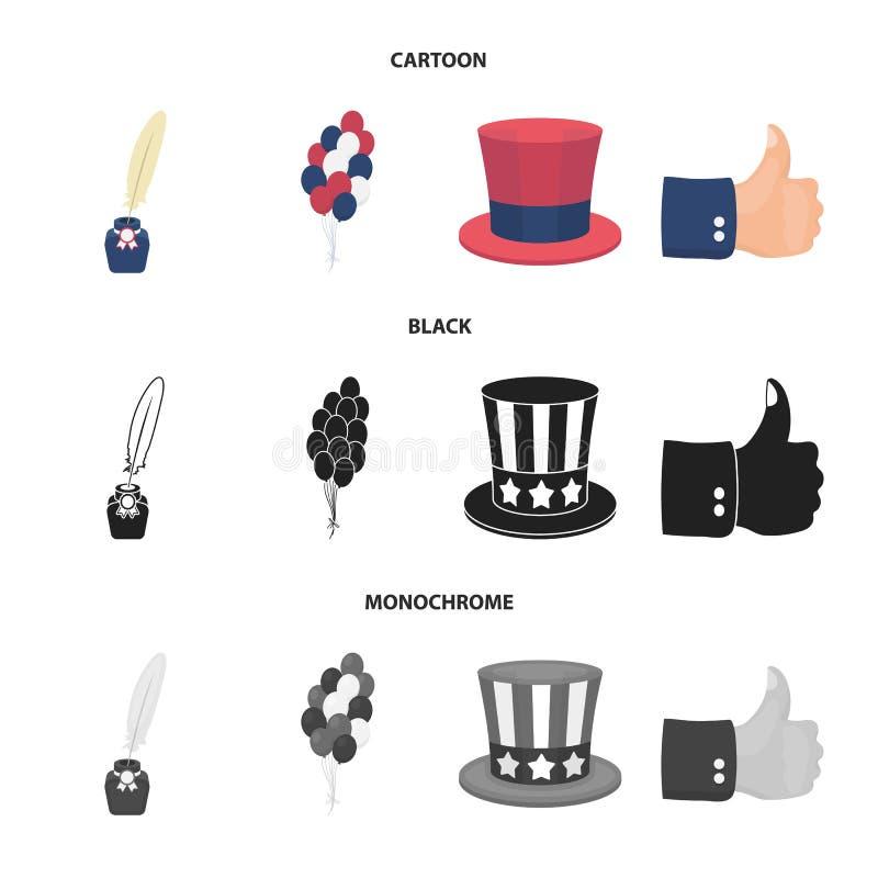 气球,有笔的墨水池,山姆大叔帽子 在动画片,黑色,单色样式的爱国者天集合汇集象 皇族释放例证