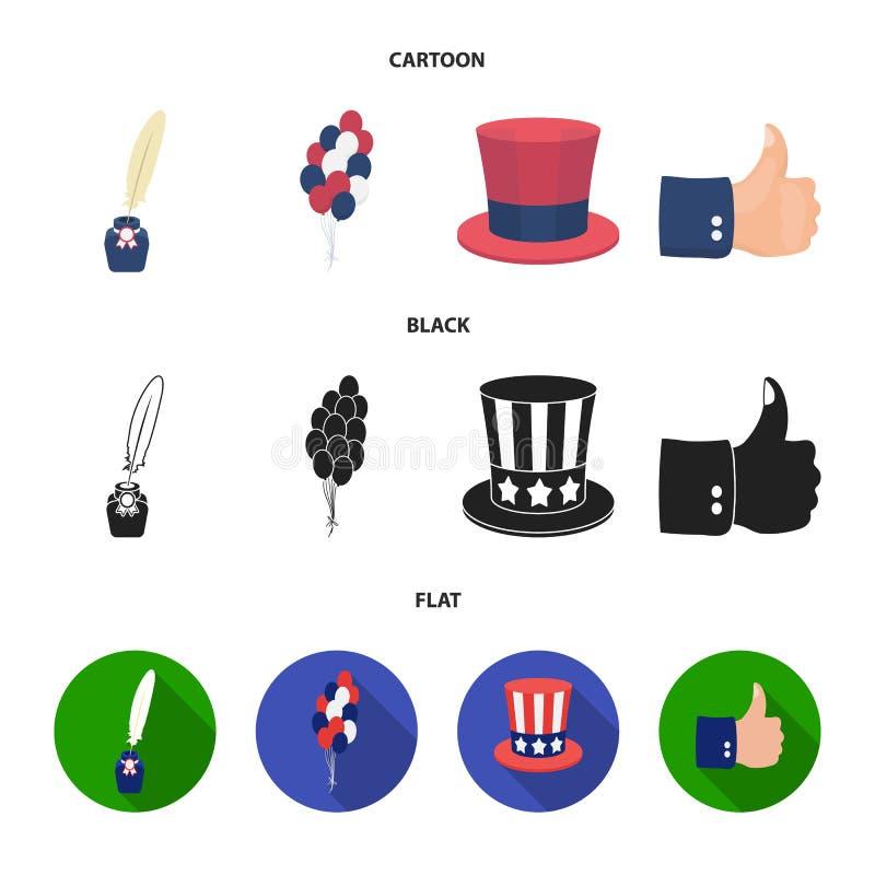 气球,有笔的墨水池,山姆大叔帽子 在动画片,黑色,平的样式传染媒介的爱国者天集合汇集象 库存例证