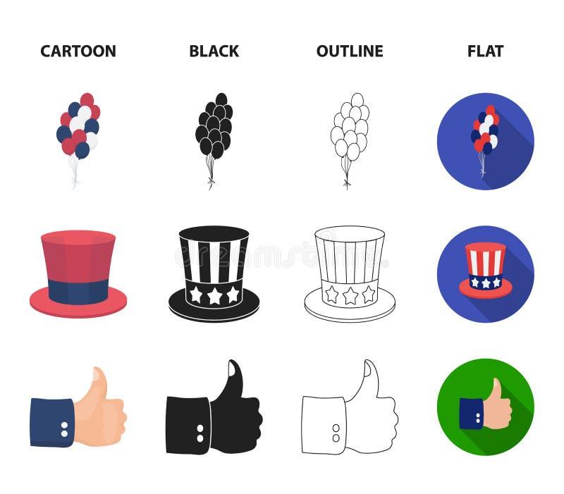 气球,有笔的墨水池,山姆大叔帽子 在动画片,黑色,概述,平的样式的爱国者天集合汇集象 皇族释放例证