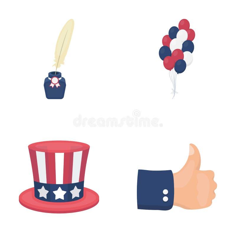 气球,有笔的墨水池,山姆大叔` s帽子 在动画片样式的爱国者` s天集合汇集象导航标志 库存例证