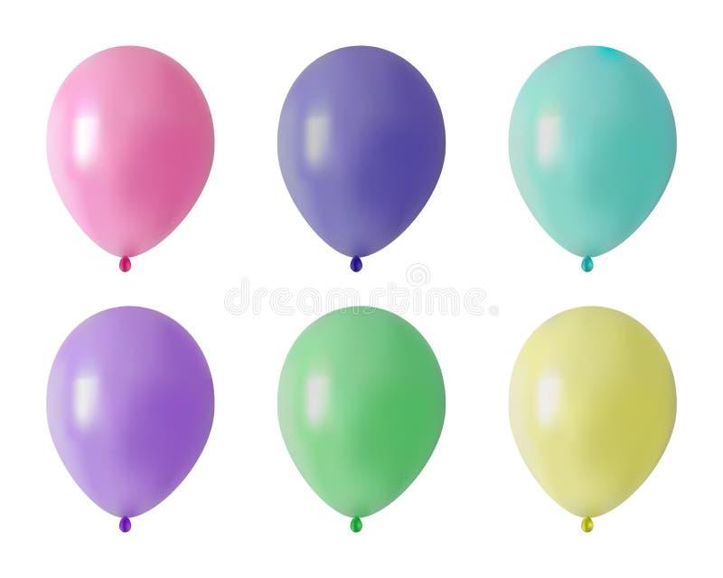 气球 套欢乐设计的色的现实橡胶气球 向量例证
