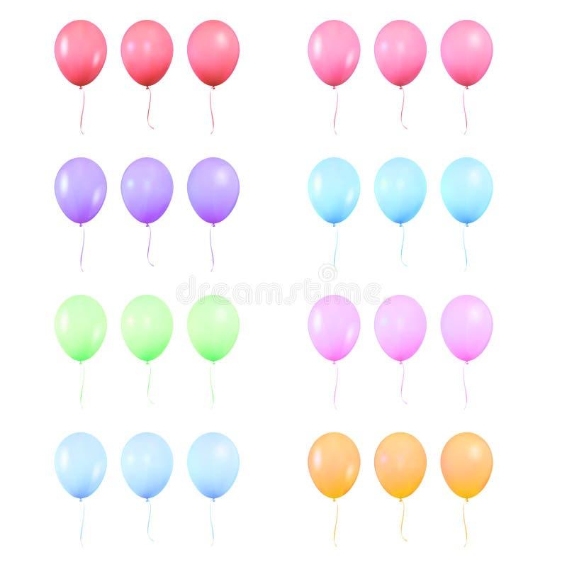 气球 设置现实五颜六色的发光的氦气气球 被隔绝的轻快优雅生日装饰 皇族释放例证