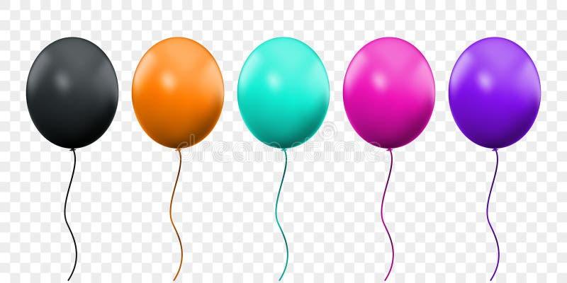 气球3D在透明背景隔绝的传染媒介现实 生日宴会桔子,桃红色,绿色和紫色轻快优雅 皇族释放例证