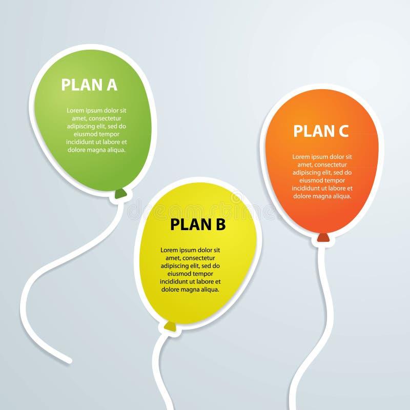 气球infographics时间安排标签传染媒介例证 向量例证