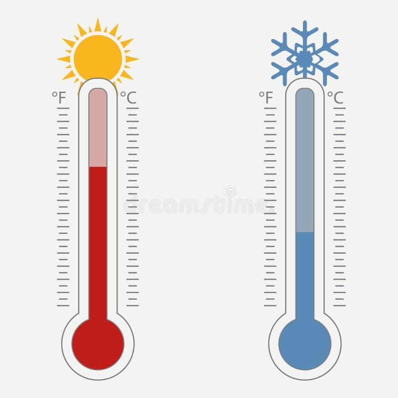气象温度计 摄氏的温度标尺 皇族释放例证