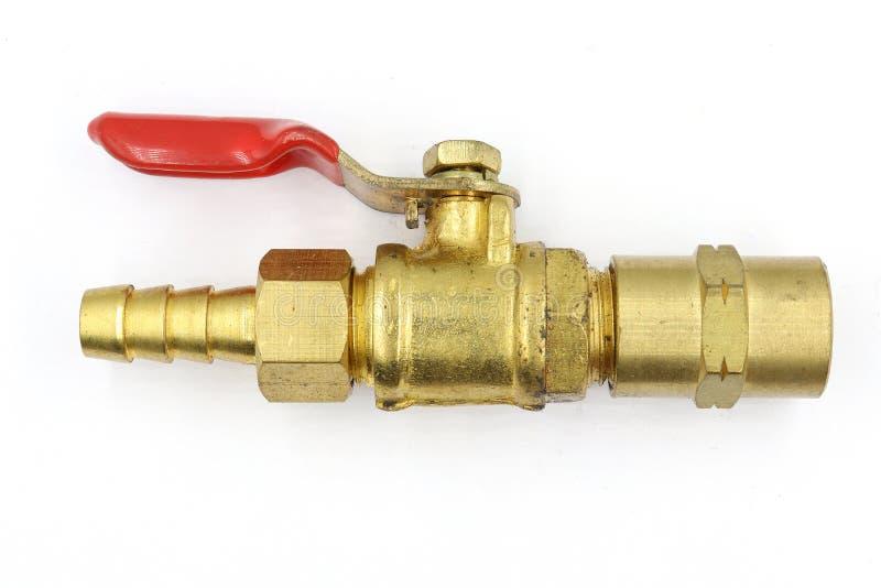 气门,黄铜AC,在白色背景隔绝的黄铜针状阀门 图库摄影