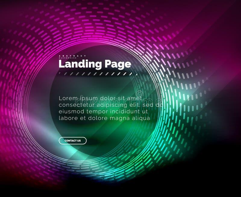 氖发光的techno排行,与圈子的高科技未来派抽象背景模板,登陆页模板 库存例证