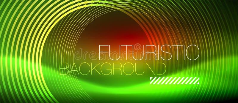 氖发光的techno排行,与方形的形状的高科技未来派抽象背景模板 库存例证