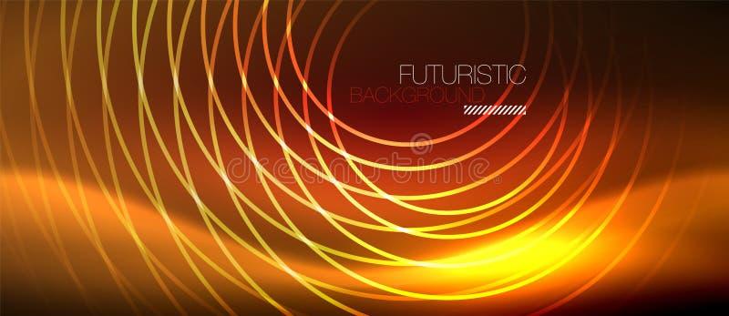 氖发光的techno排行,与方形的形状的高科技未来派抽象背景模板 皇族释放例证